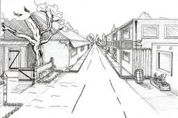 One Point Street With Tree Perspective Art Landscape Drawings One Point Perspective