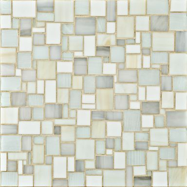 Erin Adams For Ann Sacks Glass Mosaic Tiles Large Offset Pattern Features A  Variety Of Shapes Of Small Hand Cut Tiles In Whites, Off Whites And Pale ...