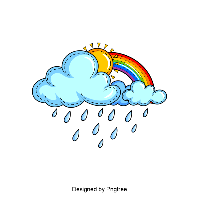 Beautiful Cool Cartoon Hand Painted Rain Water Droplets Clouds Png And Psd Rainbow Drawing Cartoon Clouds Doodle Images
