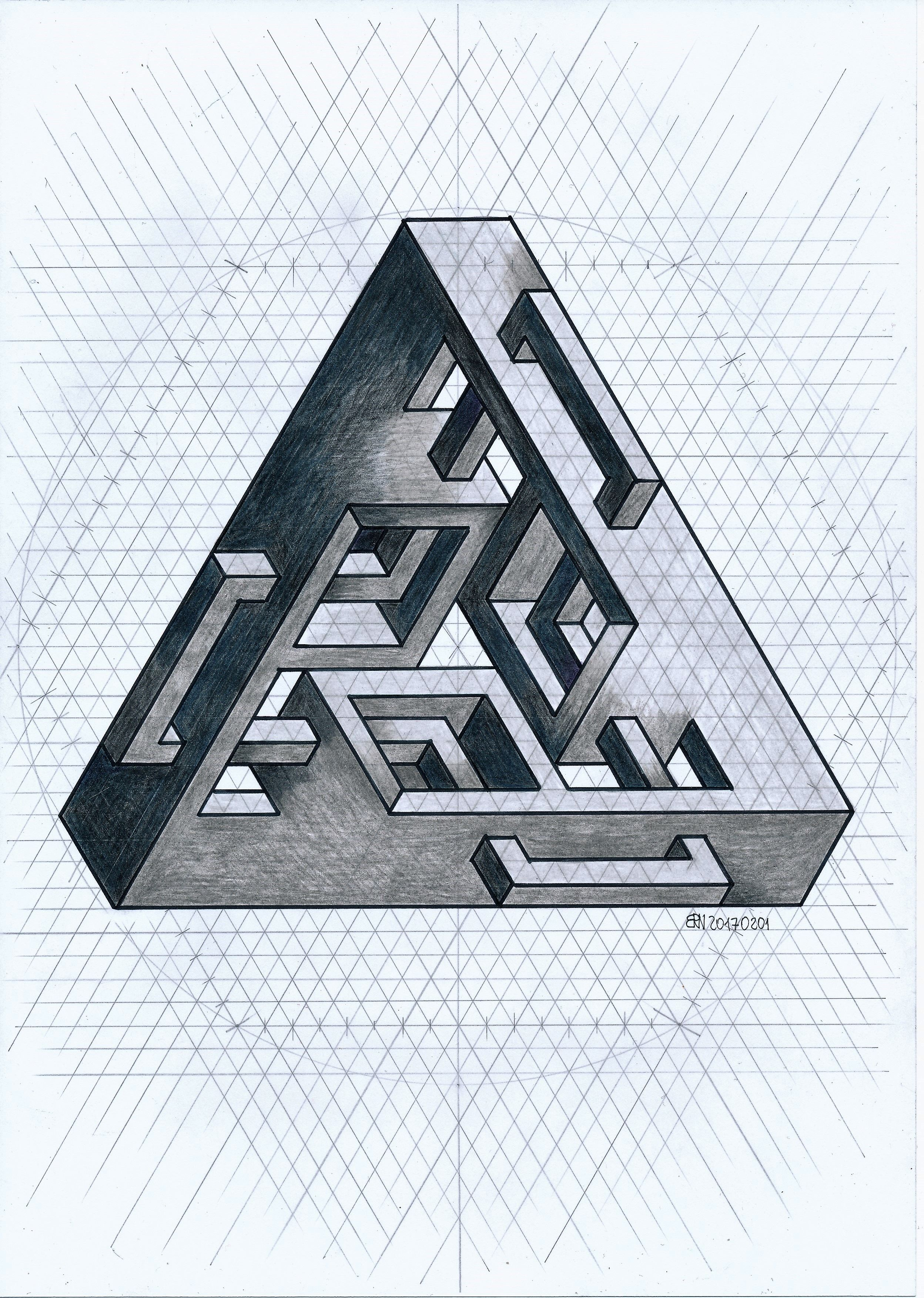 Impossible Isometric Penrose Triangle