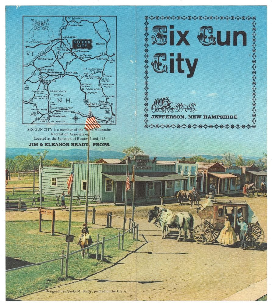 Vintage Six Gun City Western Amu T Park Jefferson New Hampshire Nh Pamphlet
