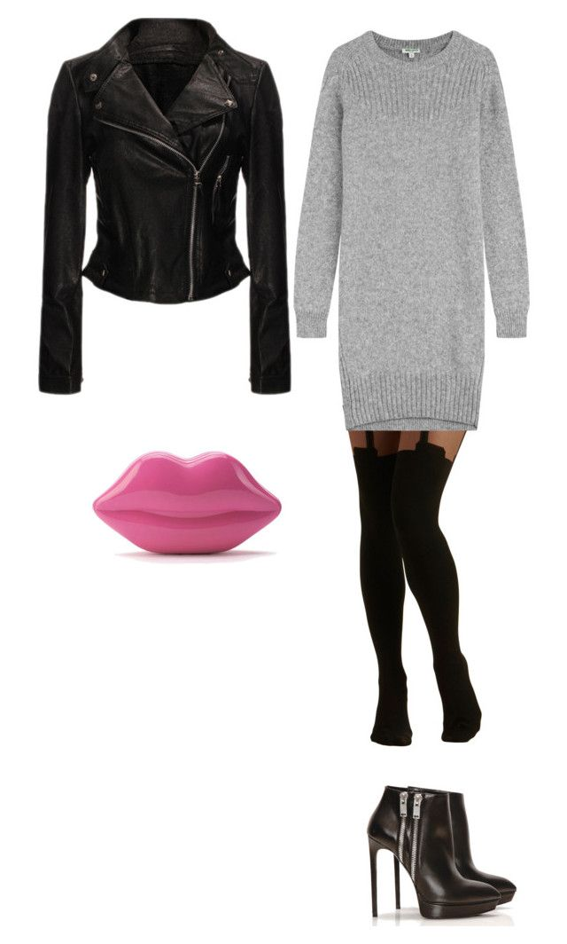 """Gray dress"" by princesaurbana ❤ liked on Polyvore featuring Pretty Polly, Kenzo, Yves Saint Laurent, Lulu Guinness, women's clothing, women's fashion, women, female, woman and misses"