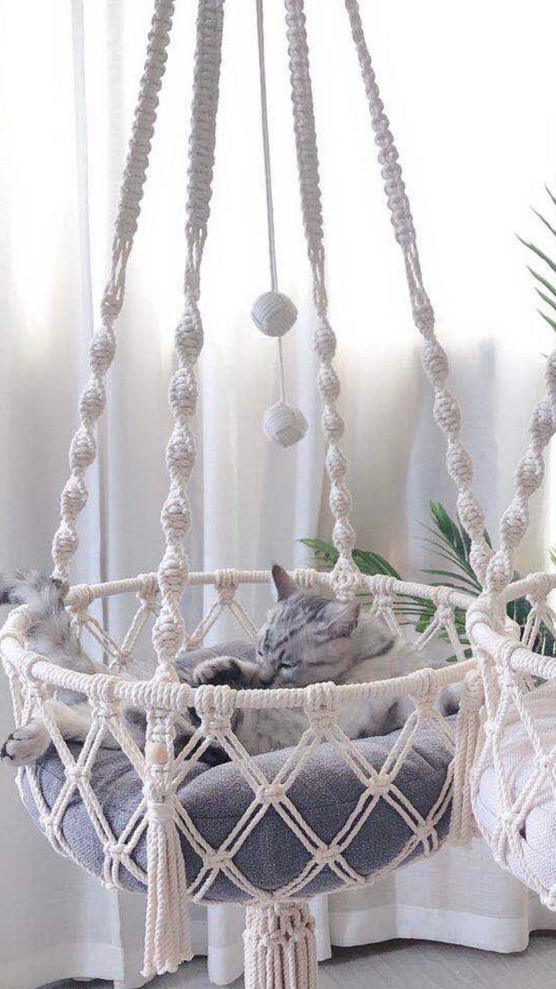 Makramee Katze Hängematte gewebt Boho Wand hängen Pet | Etsy