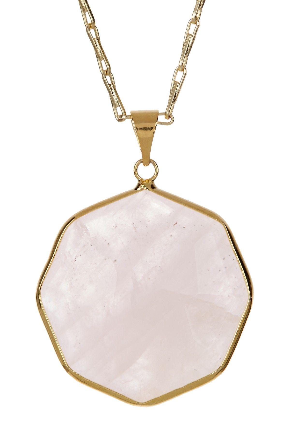Rose quartz bezel set long octagon pendant necklace by mistraya
