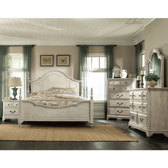 Windsor Lane Queen 4-Piece Queen Bedroom Set - White in 2018 - Lane Bedroom Furniture