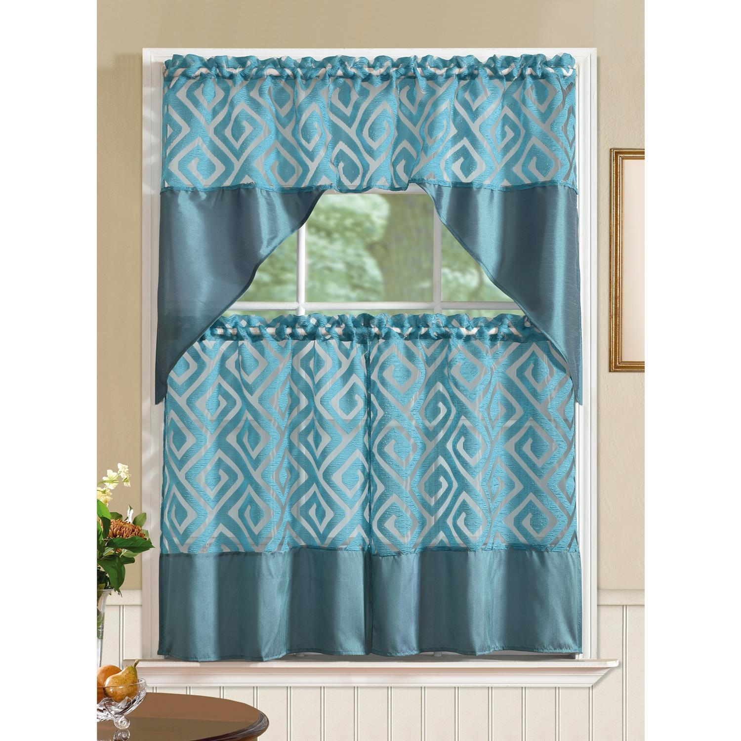 Riviera Printed Faux Silk Tier and Valance Kitchen Curtain Set ...