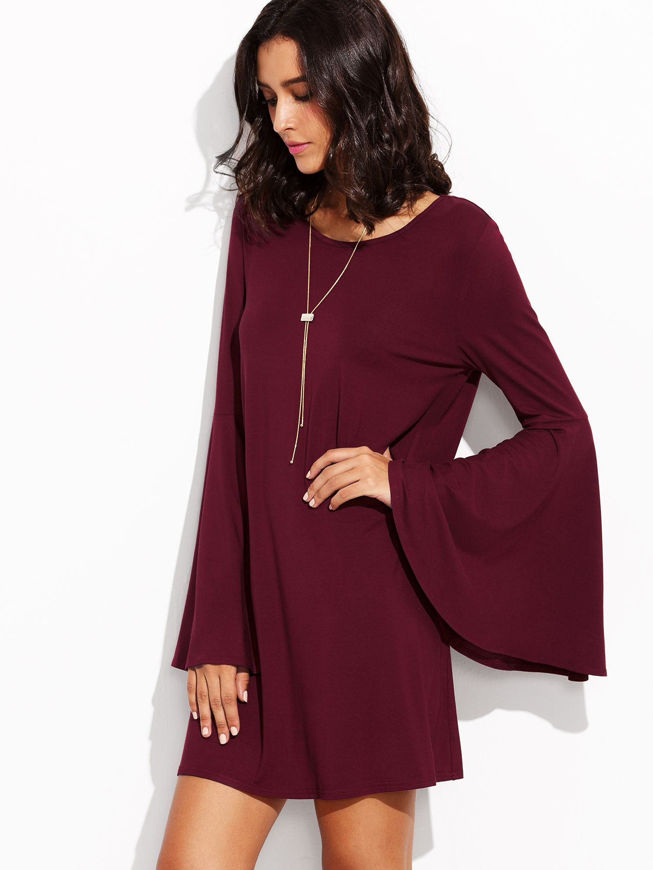 a1548f9d3ede Shop Burgundy Bell Sleeve Shift Dress online. SheIn offers Burgundy Bell  Sleeve Shift Dress   more to fit your fashionable needs.