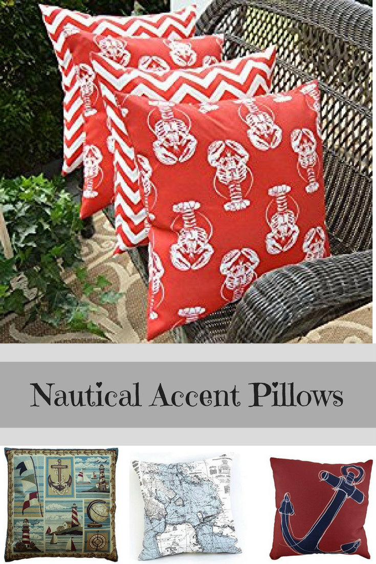 I love the ocean and therefore nautical throw pillows as they help