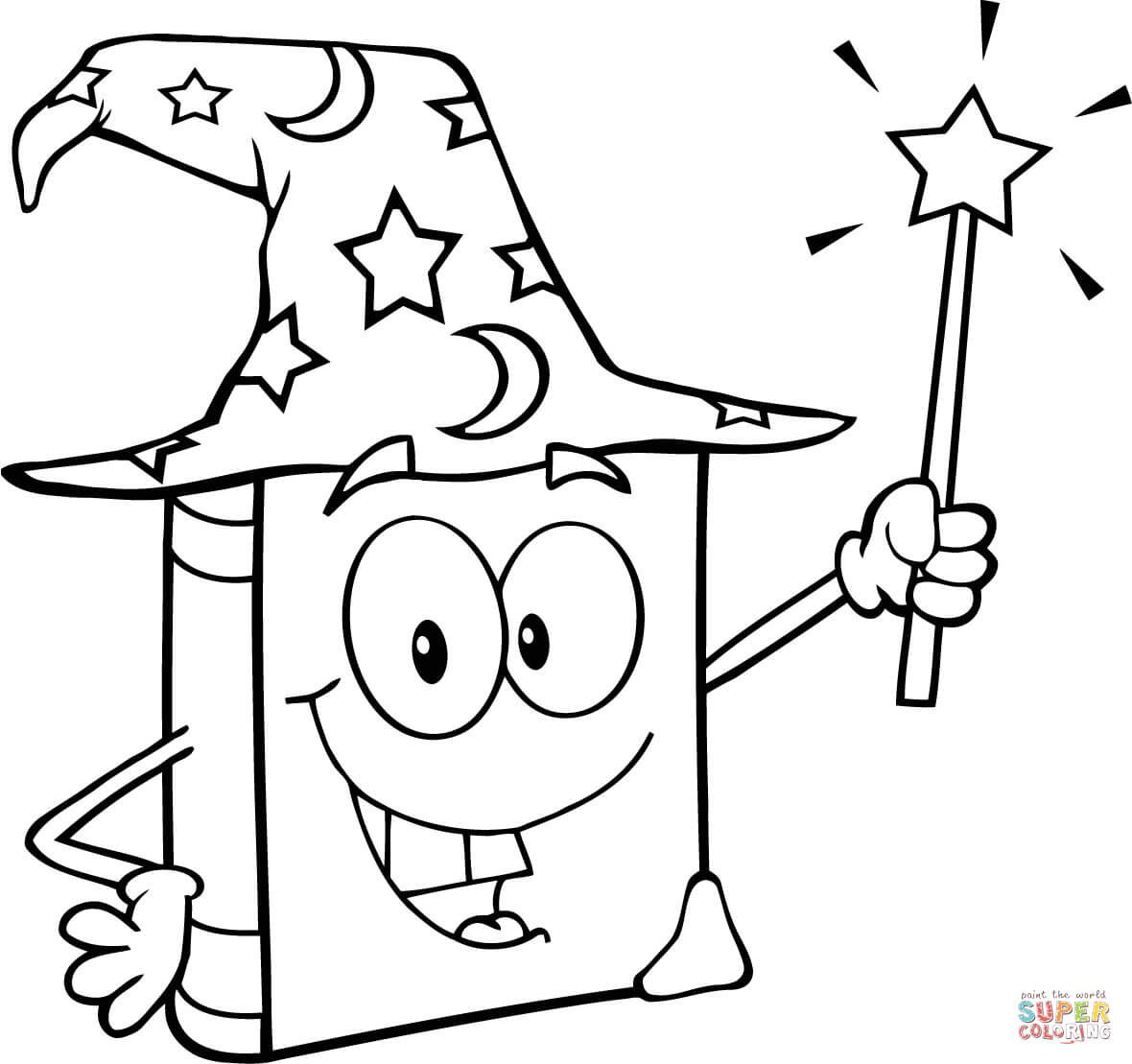 Wizard Book Holding A Magic Wand Super Coloring Magic Book