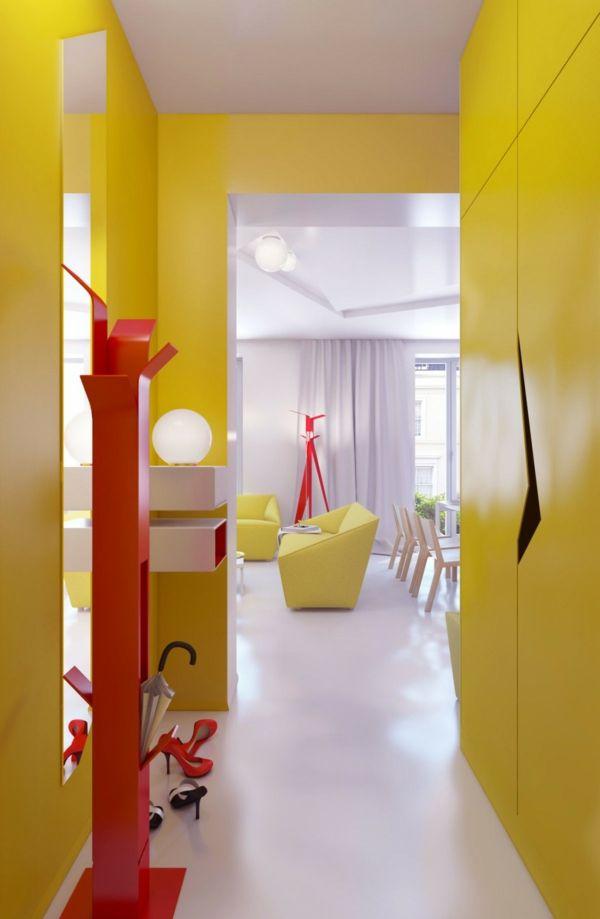 Farbgestaltung Flur - Ratschläge und Beispiele in Gelb | Farben ...