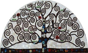Abstract tree mosaic like Klimpt painting