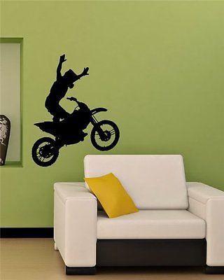 Motocross Dirt Bike Stunts Wheelie Wall Art Sticker Decal M567 Bike Room Sticker Wall Art Home Decor