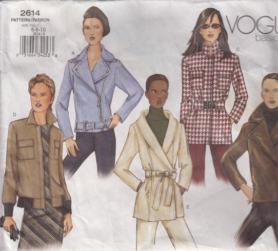 2000s Jacket Bomber Sporty Casual Dressy Lined Collar Variations Women 39 S Sewing Pattern Size 6 Vogue Sewing Patterns Jacket Pattern Patterned Bomber Jacket