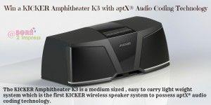 Win a KICKER K3 Wireless Speaker System with aptX® Audio Coding Technology!
