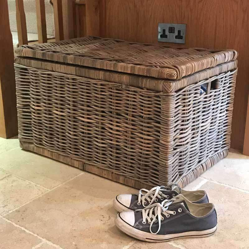 Large Grey Rectangle Wicker Storage Chest With Lid New