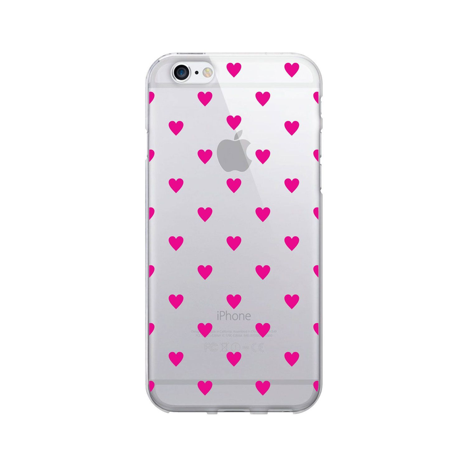 OTM Classic Prints Clear Phone Case Dotty Magenta Hearts Iphone 7Iphone