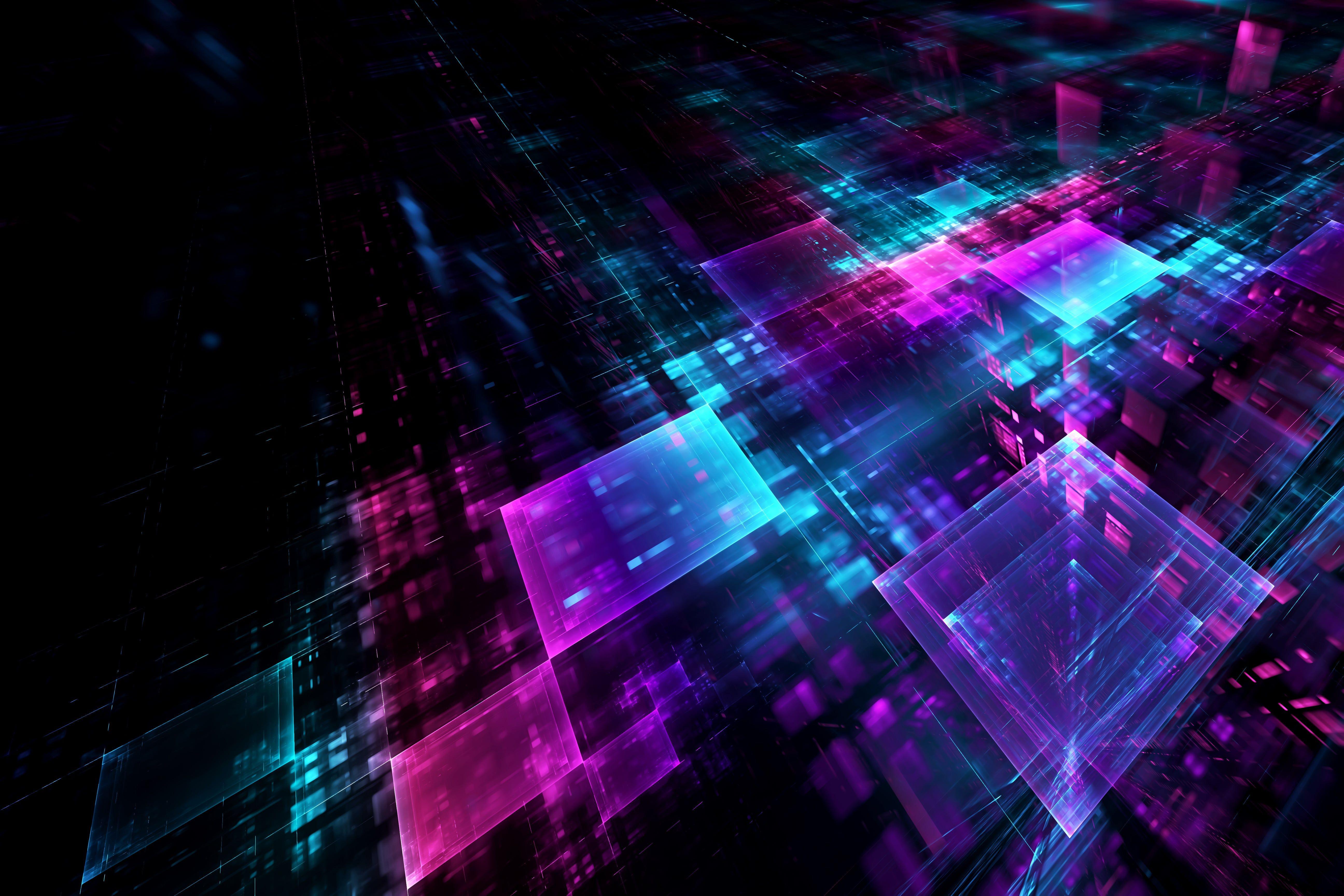 Desktophdwallpaper Org Geometri Abstrak Neon