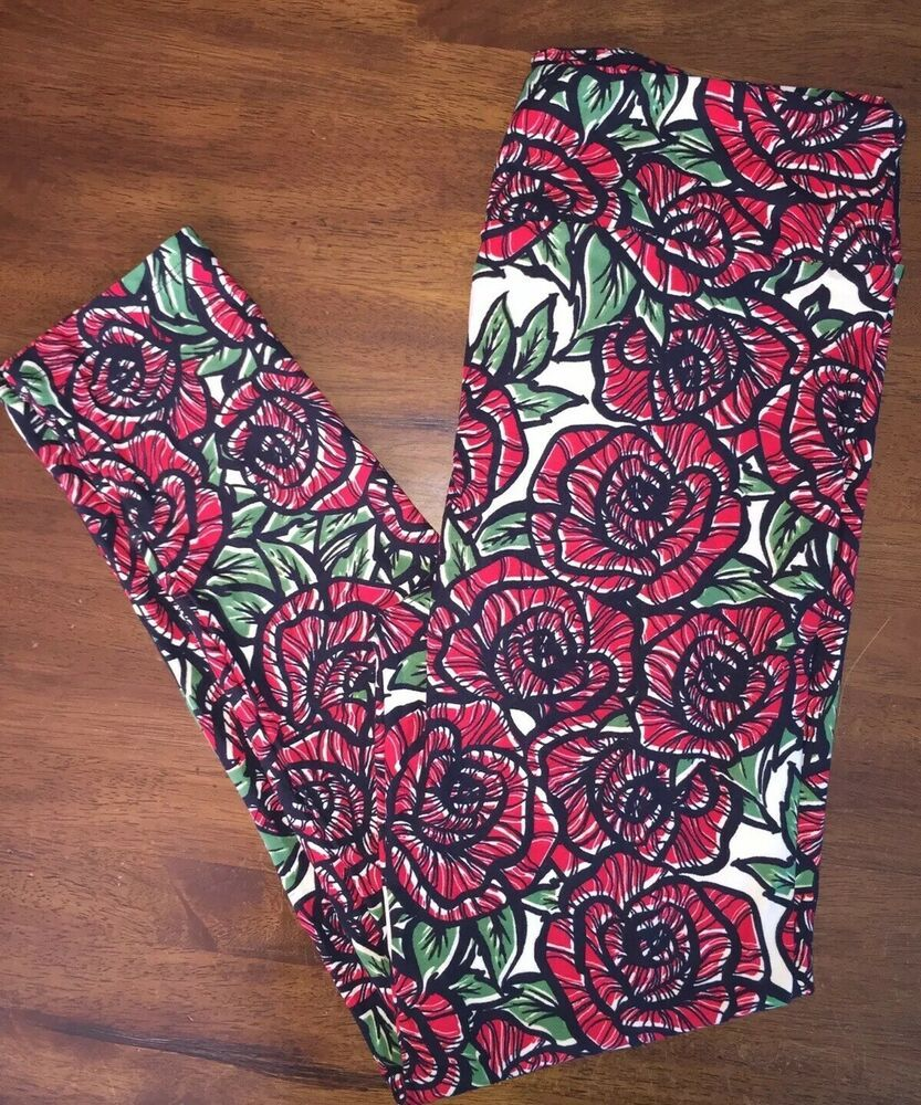 704cf56df29687 LuLaRoe TC DISNEY BEAUTY BEAST TATTOO RED ROSES LEGGINGS STAINED GLASS  #fashion #clothing #