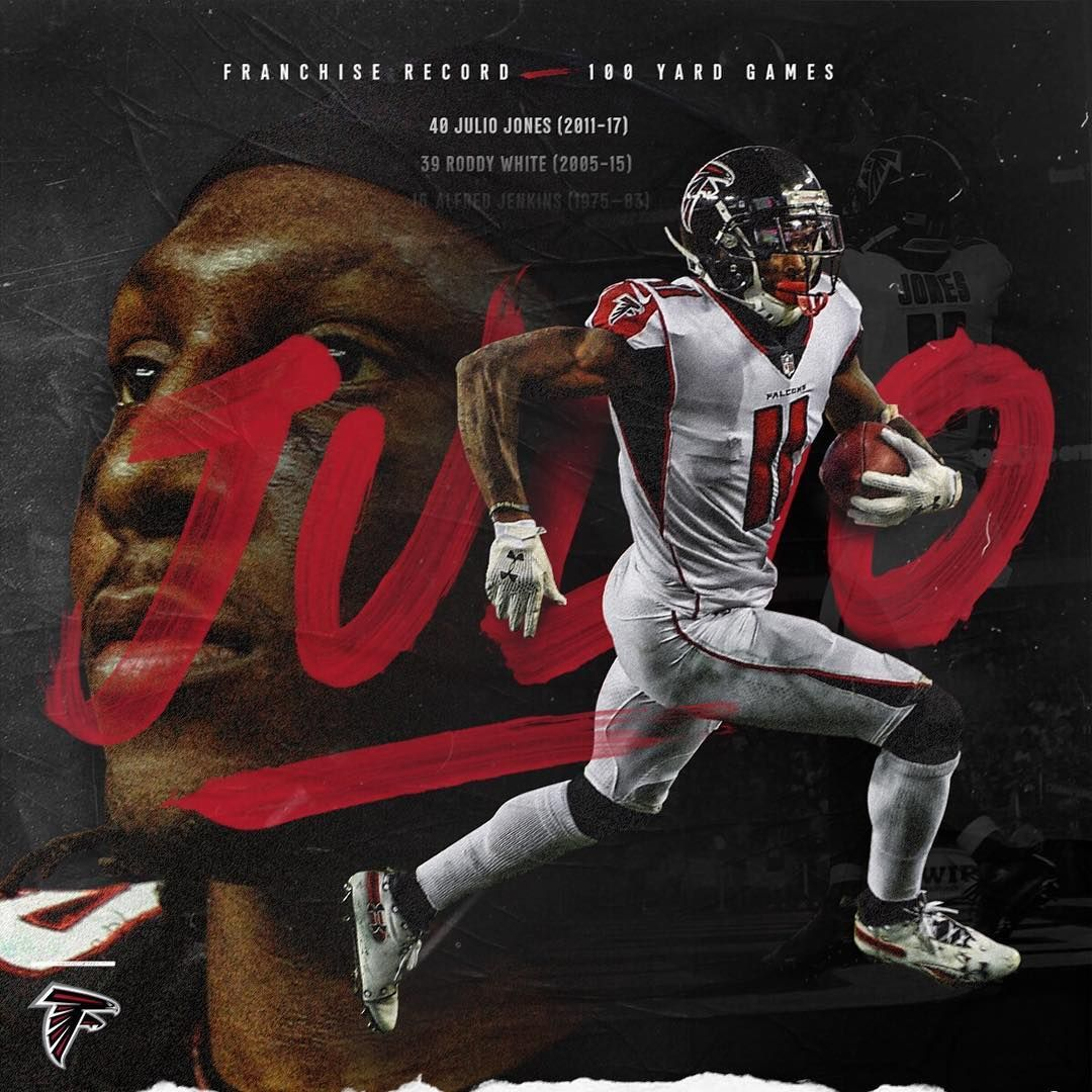 Atlanta Falcons On Instagram Julio Now Holds The Franchise Record For Most 100 Yard Receiving Games Passing Roddy White With Atlanta Falcons Falcons Atlanta
