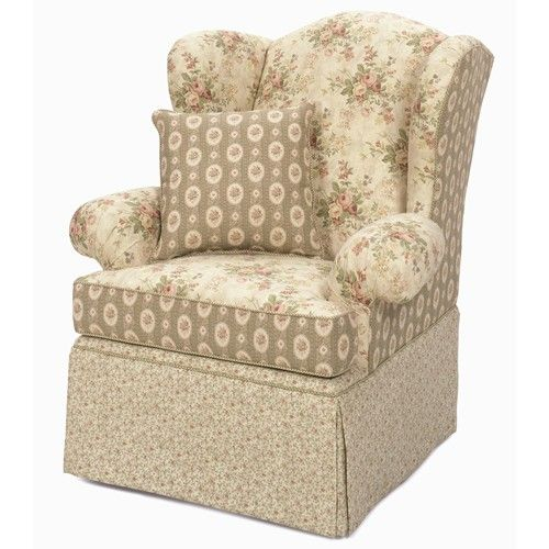 Hickory Craft Accent Chairs Upholstered Wing Back Chair with Skirted Base - Godby Home Furnishings - Wing Chair Noblesville, Carmel, Avon, Indianapolis, Indiana