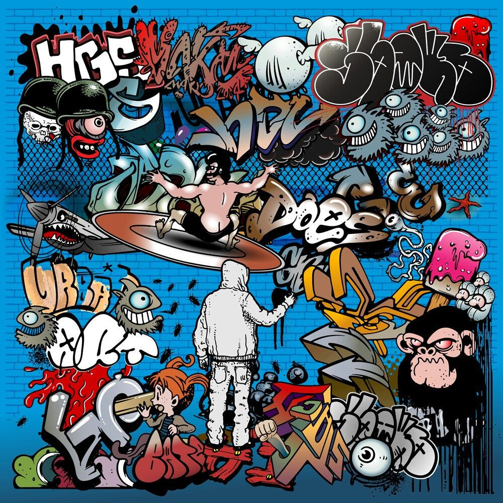 Graffiti street art mixed elements aerosol spray illustration vector image