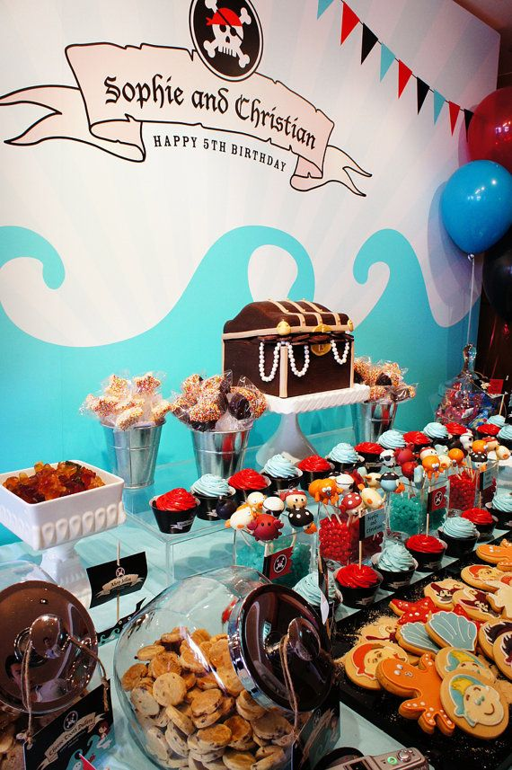 Mermaid and Pirate 1st Birthday Printable Backdrop Customized by us,