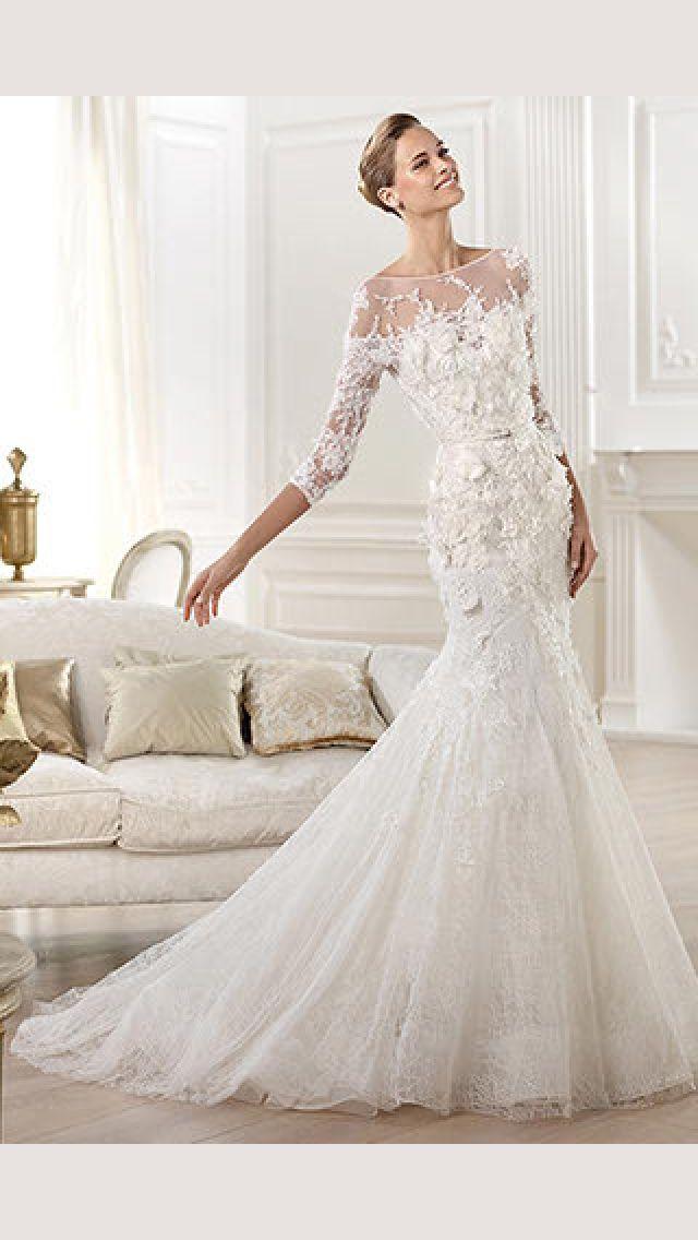 885e3fb5273d Pronovias 2014 Collection Wedding Dress Sleeves, Dresses With Sleeves,  Applique Wedding Dress, Lace
