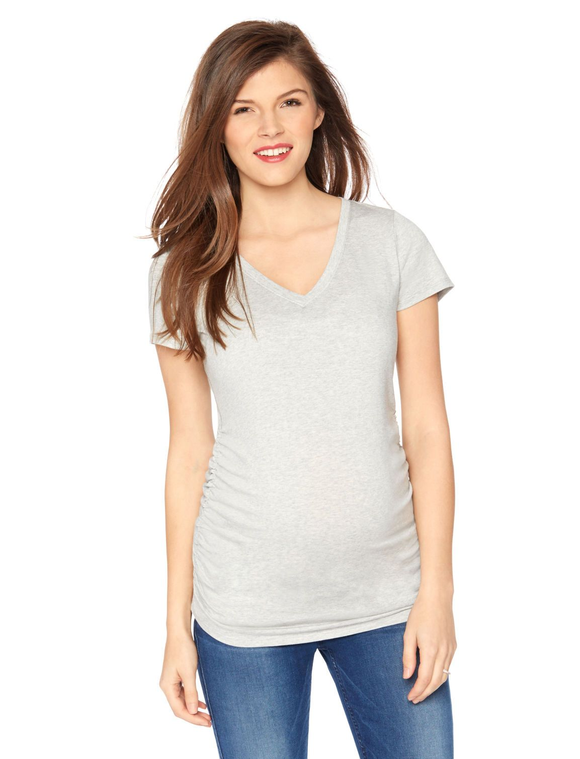 7b4caa59a136a A grey shirt that goes with any outfit | Short sleeve deep v-neck cuffed  maternity t shirt by Motherhood Maternity