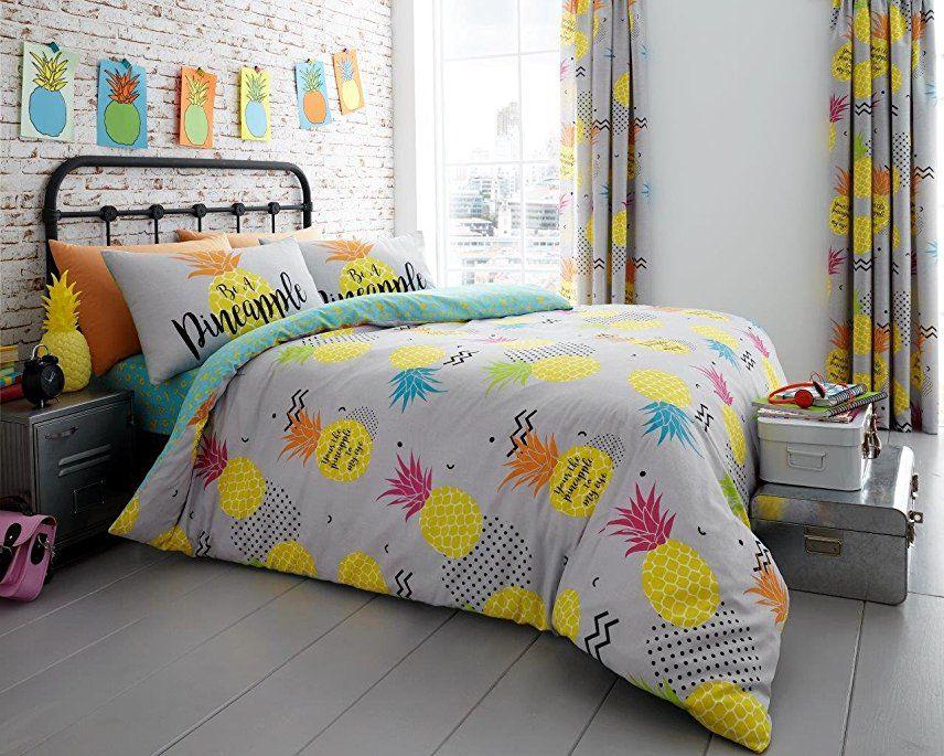 London Bedding Fruit Botanical Design Polycotton Reversible Duvet Quilt Cover Set With Pillow