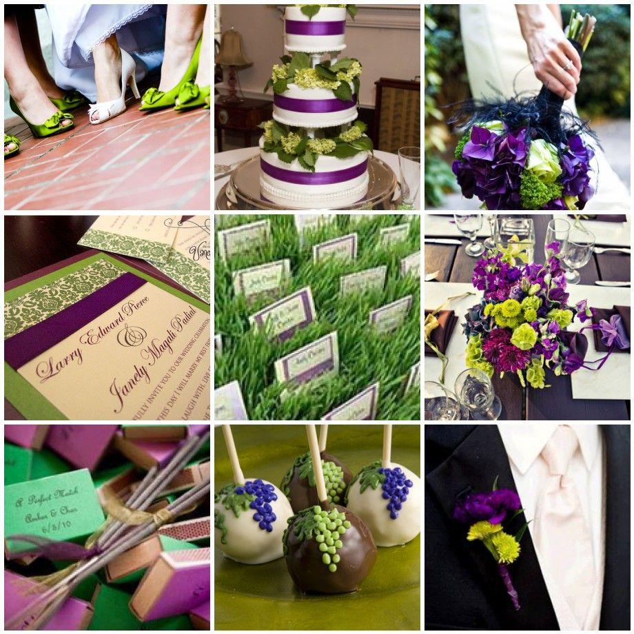 Purple Green Wedding Invitations Cake Favors Green Themed