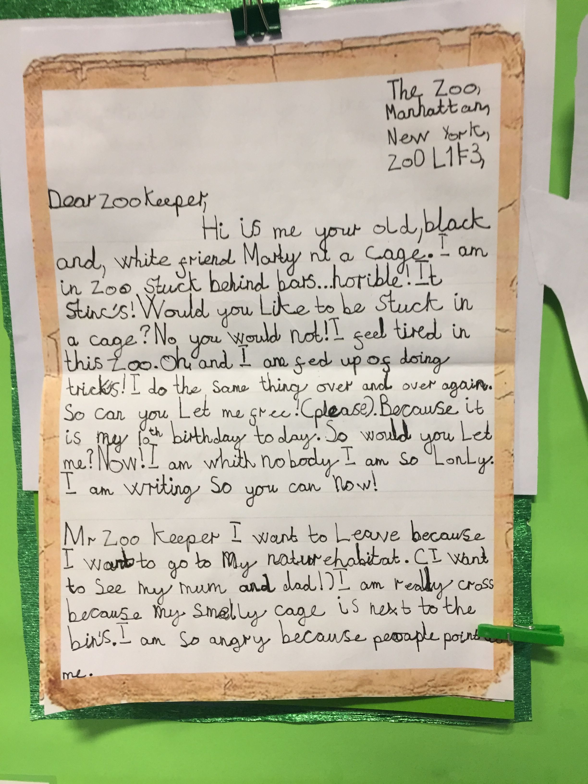 ks1 writing letters  dear zoo lettering zoo keeper