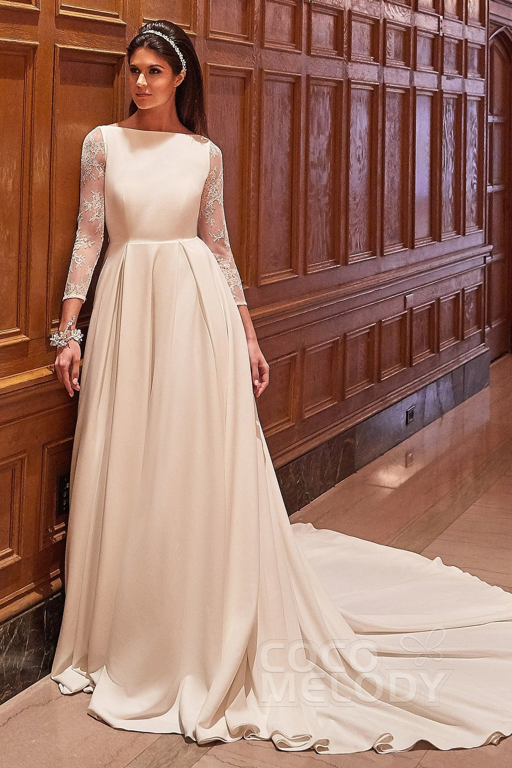 Usd 699 A Line Court Train Long Sleeve Wedding Dress Ld5771 A Line Wedding Dress Affordable Wedding Dresses Nontraditional Wedding Dress
