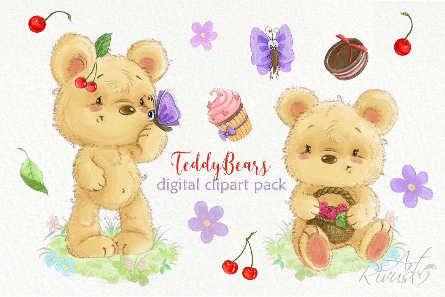 Photo of Cute teddy bear clipart Summer clipart Cherry Cake Flower Sweets Butterfly Wild …