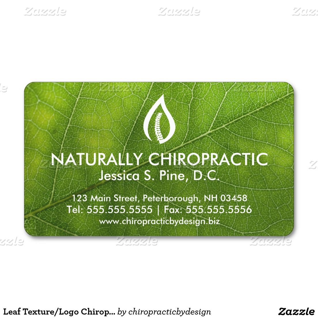 Leaf Texture Logo Chiropractic Business Cards Zazzle Com Leaf Texture Cards Business Card Design