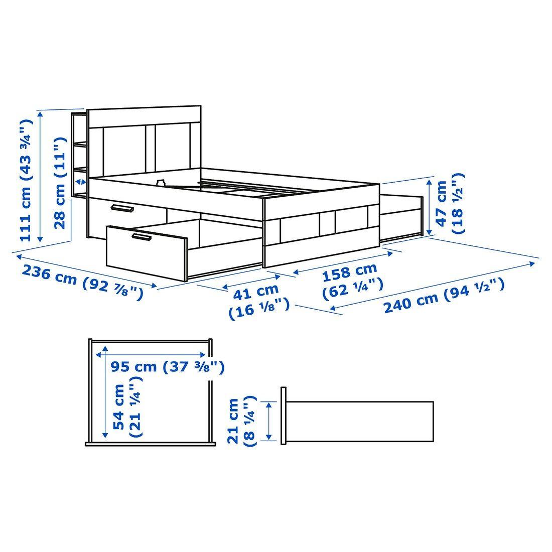 Brimnes Bed Frame With Storage Headboard White Lonset Queen In 2020 Bed Frame With Storage Headboard Storage Brimnes Bed