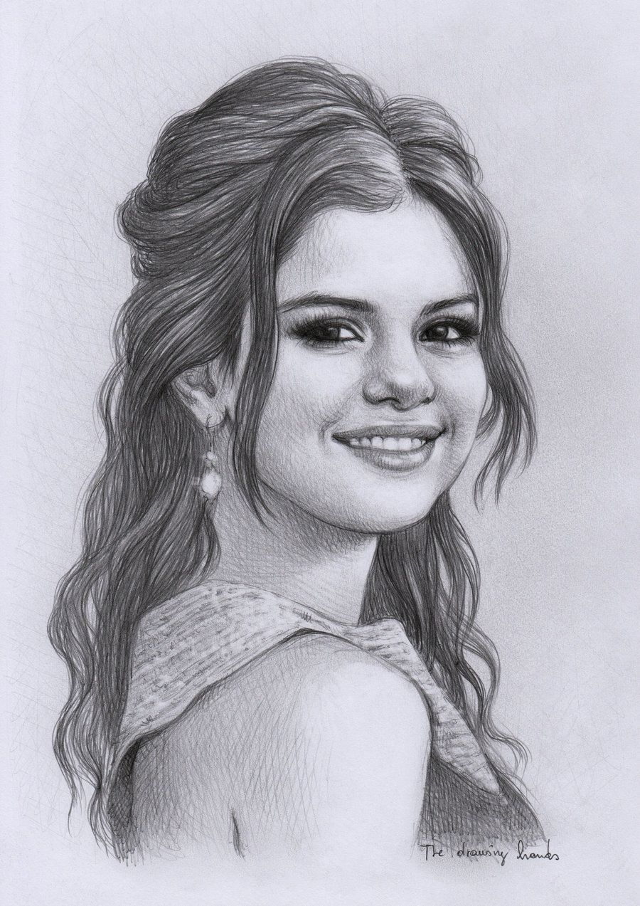 Selena gomez by thedrawinghands on deviantart pencil portrait