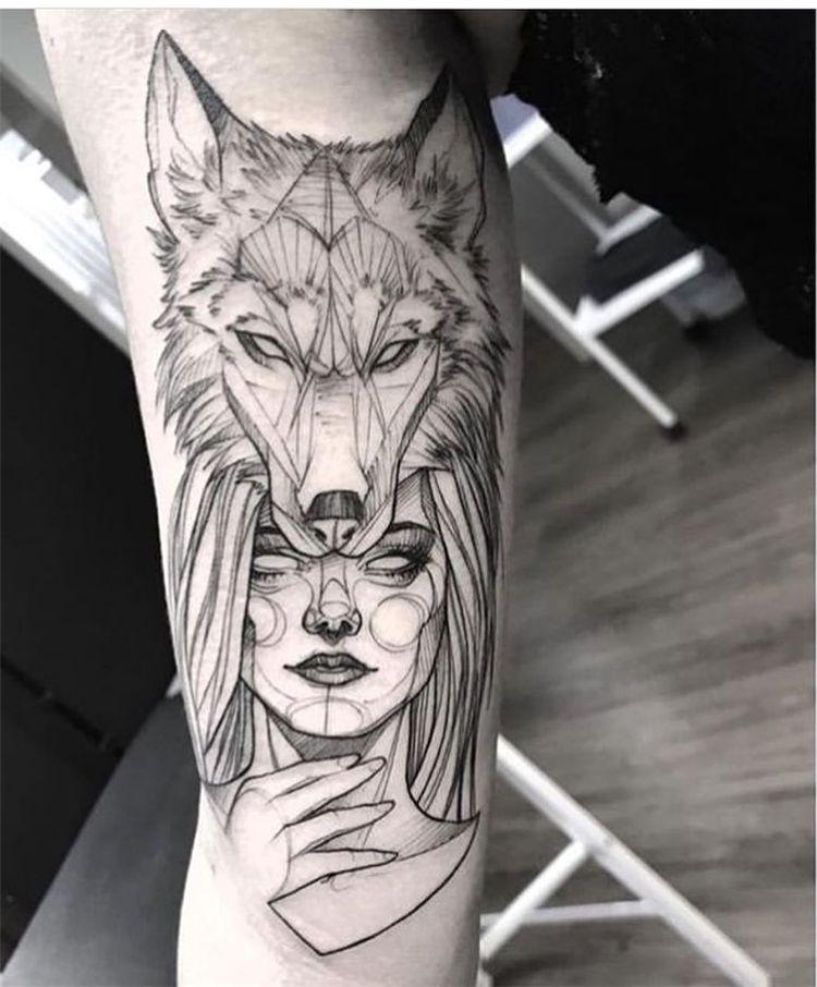 53 Cool Animal Tattoo Ideas Wolf Girl Tattoos Animal Tattoo Wolf Tattoo Sleeve