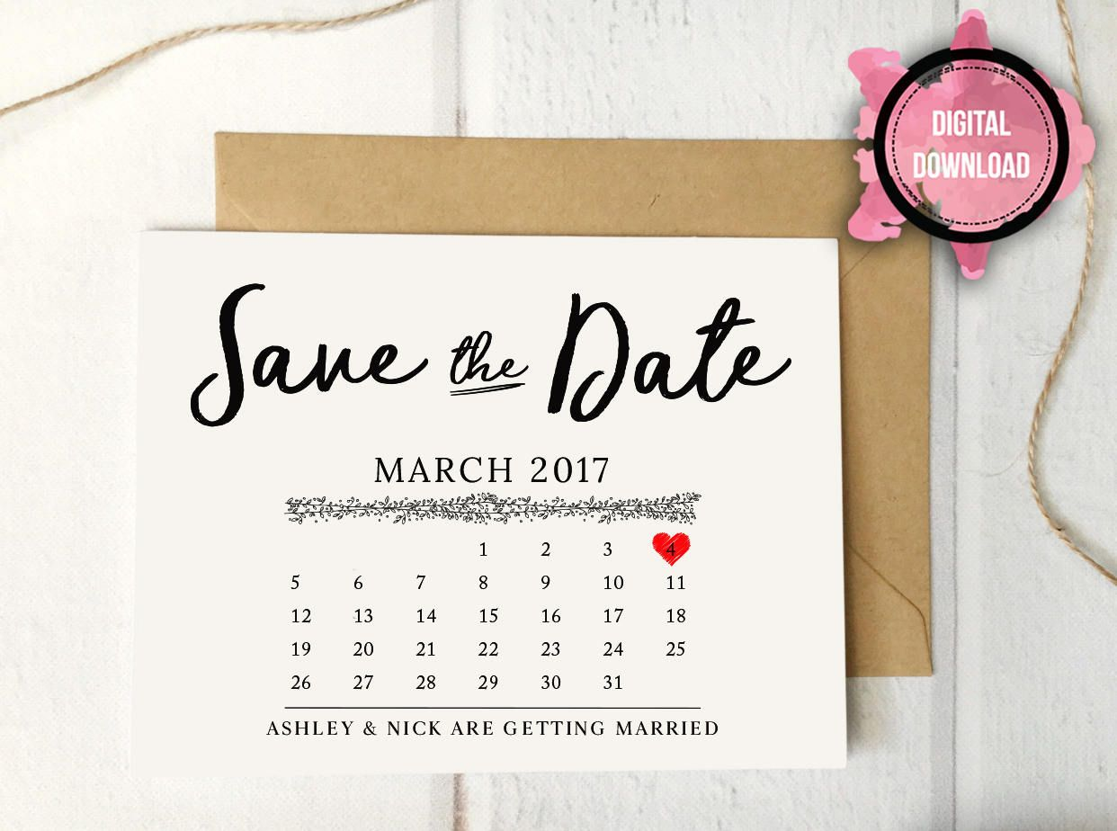 Rustic Save-the-Date Calendar Postcard Template, Save the Date Post ...