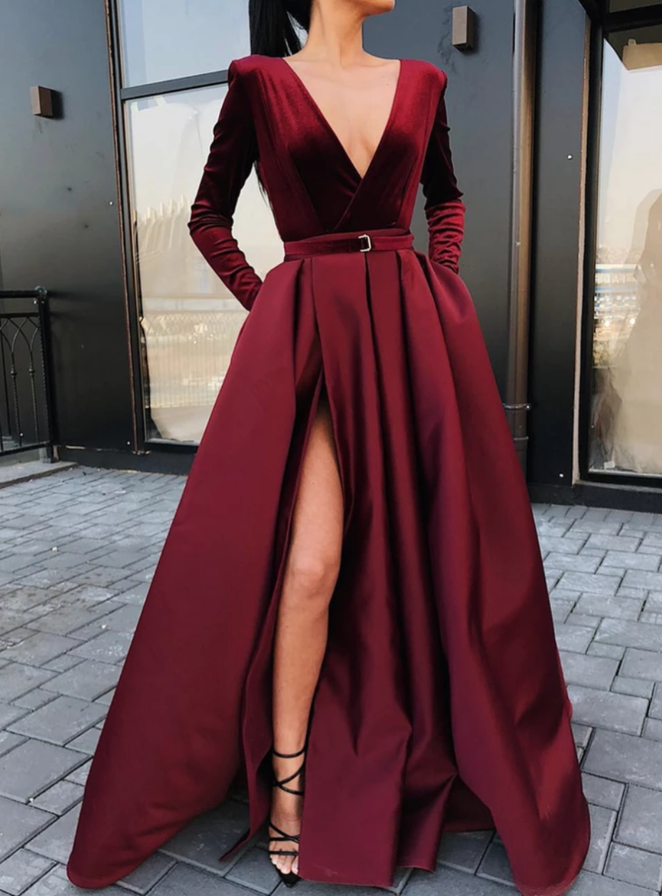 Woman S Fashion Inspo Tumblr Fashionn Enthusiast Prom Dresses Long With Sleeves Prom Dresses With Pockets Party Dress Long Sleeve [ 1256 x 928 Pixel ]