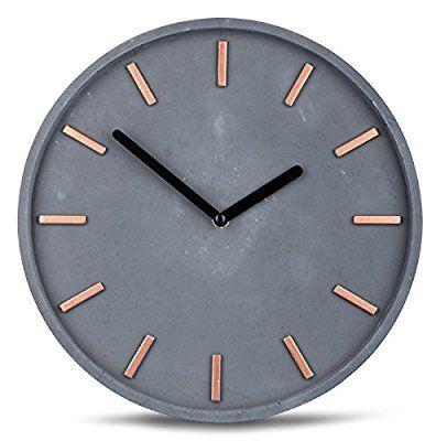 Hochwertige Beton-Uhr Wanduhr in Grau Kupfer 28cm rund moderne - wanduhren für die küche