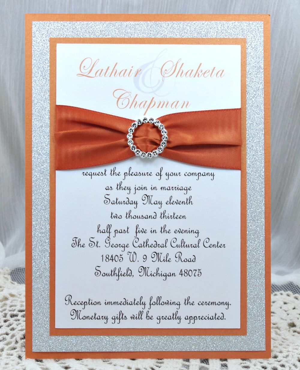 DIY Burnt Orange Wedding Quinceañera/Sweet Sixteen Invitation Full ...