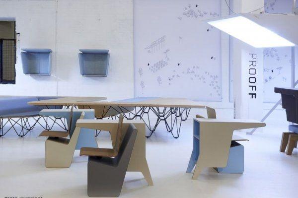 Designer Möbel \u2013 Komposition aus Schreibtisch, Drehstuhl und Regal - designer mobel bucherregal