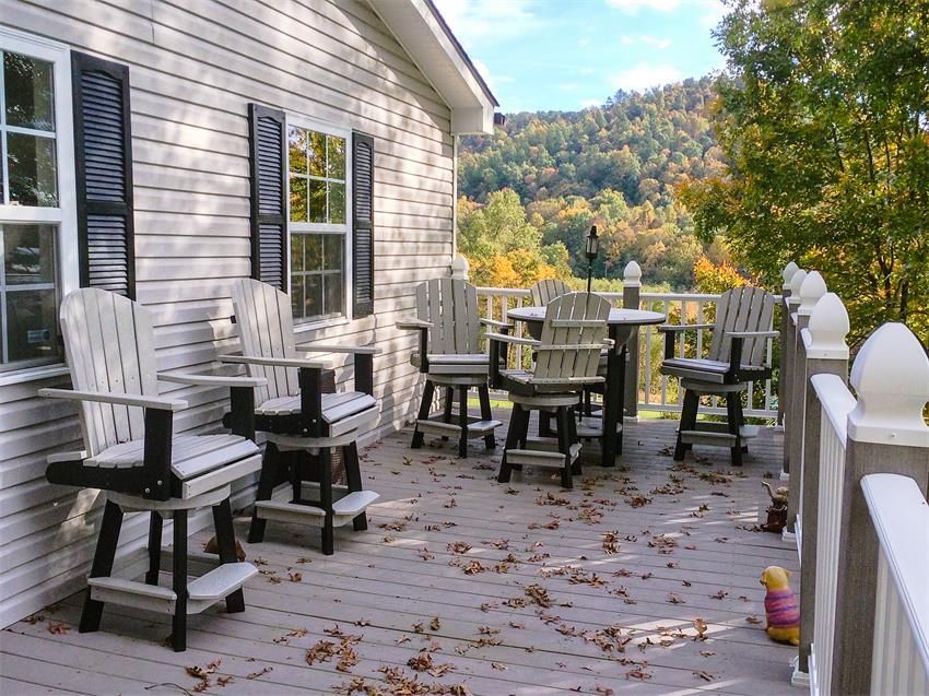 Amish Poly Patio Pub Table Set with Four Swivel Bar Chairs