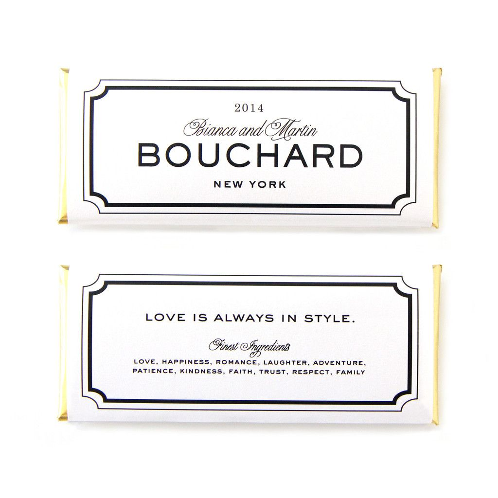 Classic Frame Personalized Candy Bar Wrapper in Black and White ...