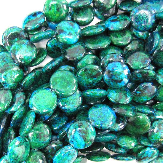 16mm blue green chrysocolla coin beads 15.5 strand by EagleBeadz