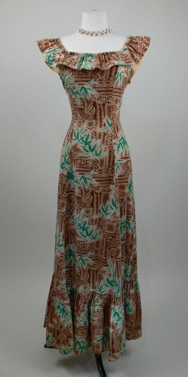 26a29c7ce97 1950 s Tiki Print Hawaiian Dress.  98.00
