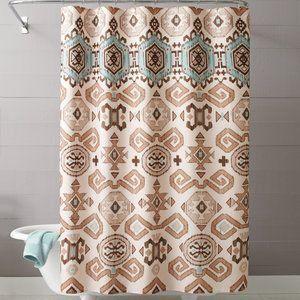 Seafoam Green Brown Tan Southwestern Aztec Fabric Shower Curtain
