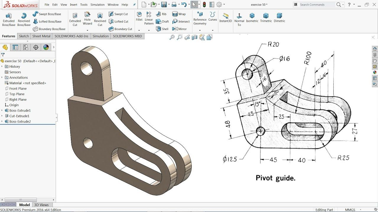 SolidWorks Tutorial for beginners Exercise 50 YouTube