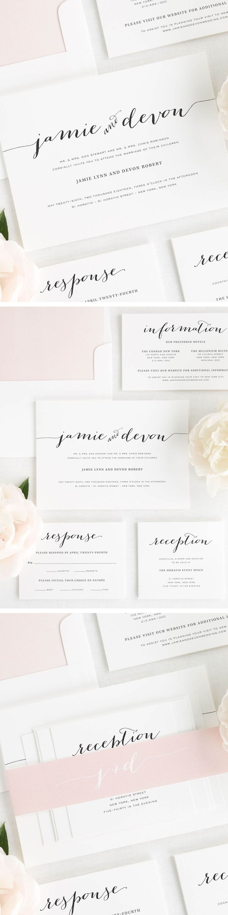 A stylish script font with calligraphic lines creates the couple�s names on these unique wedding invitations. Shown in black with a blush belly band and simple watercolor envelope liner.