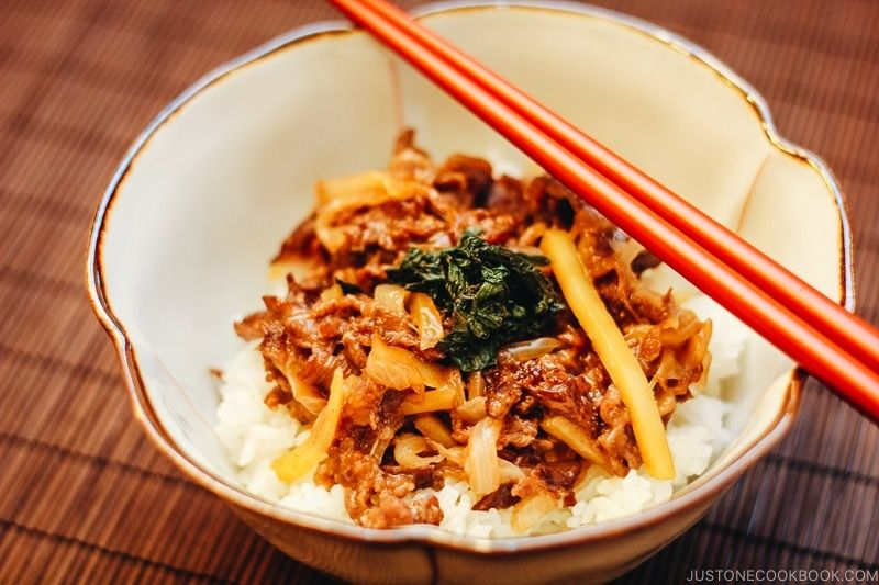 Beef Donburi With Shiso Garlic Soy Sauce Just One Cookbook Recipe Easy Japanese Recipes Shiso Recipe Recipes With Soy Sauce